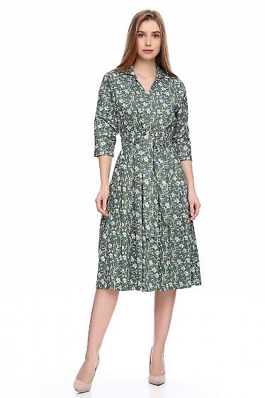 Платье в цветы из зеленого джинса. Деловая женская одежда фото