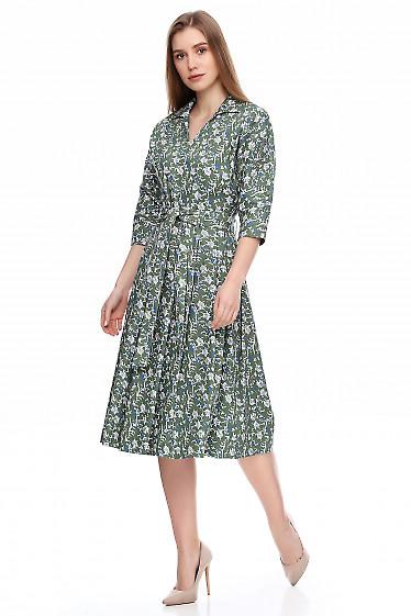 Купить джинсовое платье в цветы. Деловая женская одежда фото