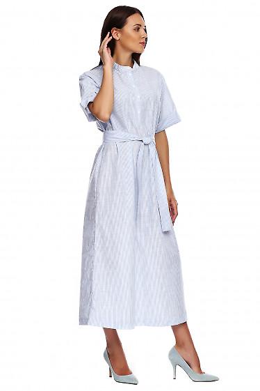 Купить платье в пол со стойкой в голубую полоску. Деловая женская одежда фото