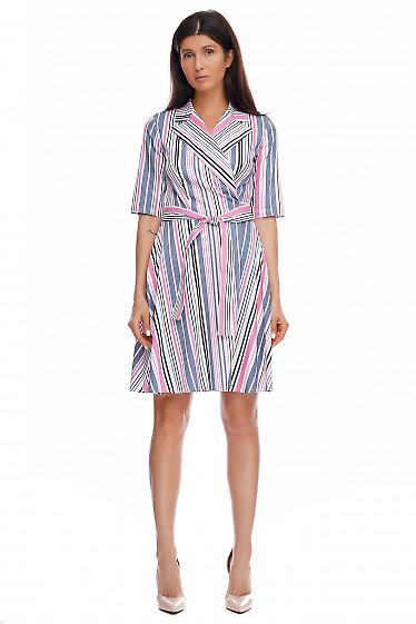 Платье в серую полоску на запах. Деловая женская одежда фото