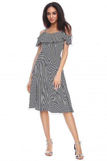 Платье в синюю полоску с рюшью Деловая женская одежда фото