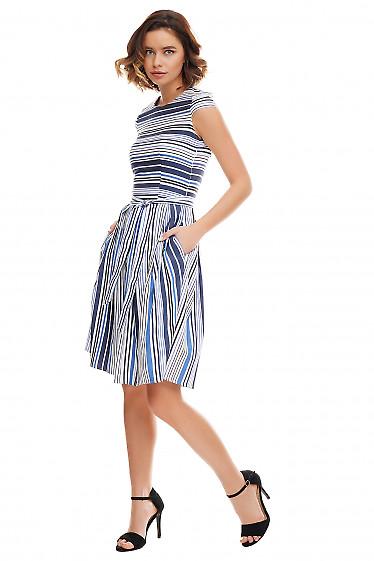 Купить платье в синюю полосу с пышной юбкой Деловая женская одежда фото