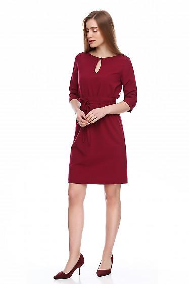 Купить платье вишневое на резинке с поясом. Деловая женская одежда фото