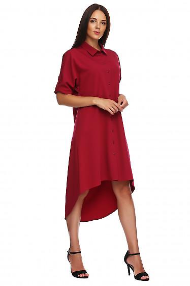 Купить платье вишневое с неровным низом. Деловая женская одежда фото