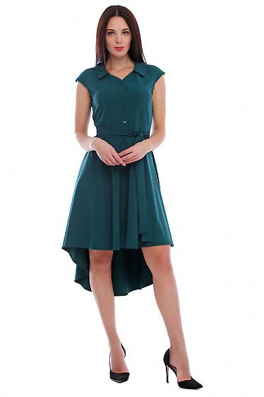 Платье зеленое с неровным низом. Деловая женская одежда фото
