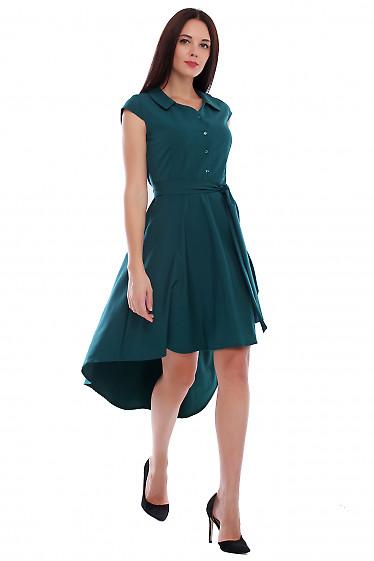 Купить платье зеленое с неровным низом. Деловая женская одежда фото