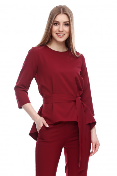 Туника с удлиненной спинкой бордовая Деловая женская одежда фото
