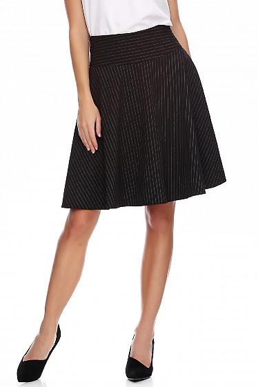 Юбка чёрная в полоску полусолнце. Деловая женская одежда фото