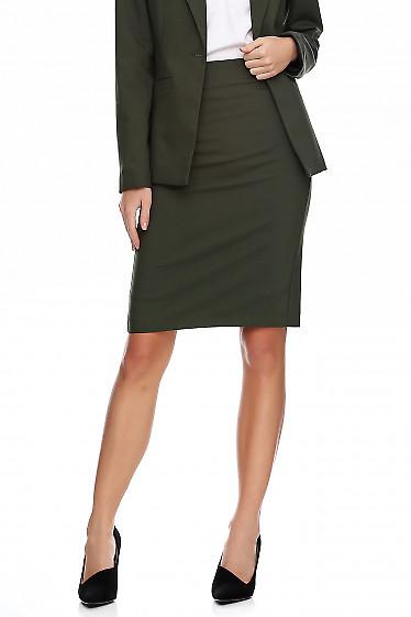 Купить юбку цвета хаки. Деловая женская одежда фото