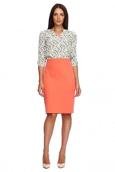 Купить коралловую юбку без пояса. Деловая женская одежда фото