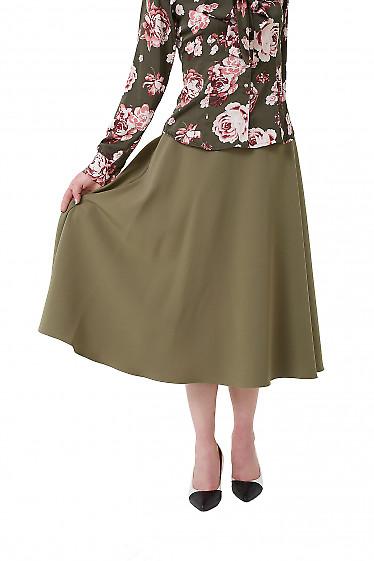Юбка миди оливковая Деловая женская одежда фото