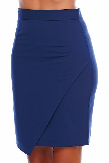 Юбка с фигурным низом синяя Деловая женская одежда фото