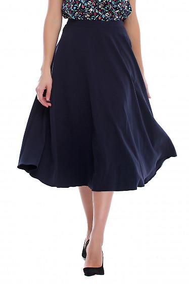 Юбка синяя миди с поясом. Деловая женская одежда фото