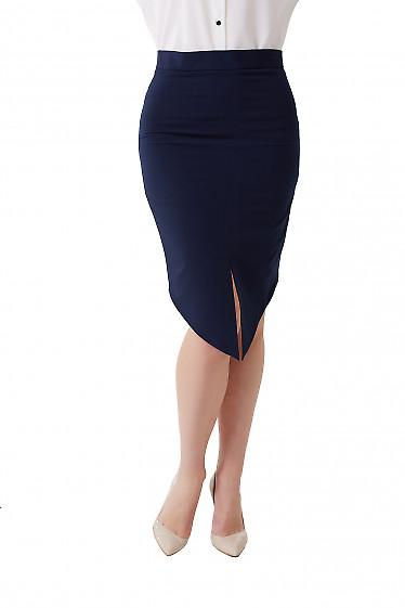 Юбка синяя с удлинённым передом Деловая женская одежда фото