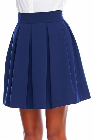 Юбка в складочку синяя короткая Деловая женская одежда фото