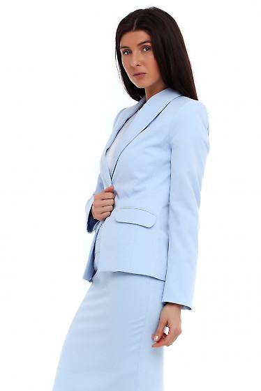 Купить жакет голубой с шалевым воротником. Деловая женская одежда фото