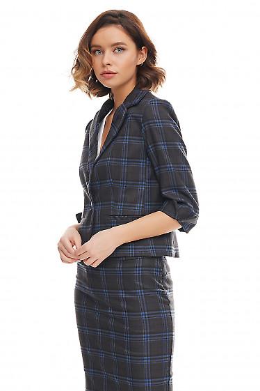 Купить жакет тёплый короткий в синюю клетку Деловая женская одежда фото