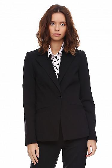 Чёрный удлиненный женский жакет. Деловая женская одежда фото