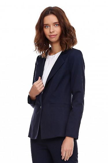 Купить синий костюм в мелкую клеточку. Деловая женская одежда фото