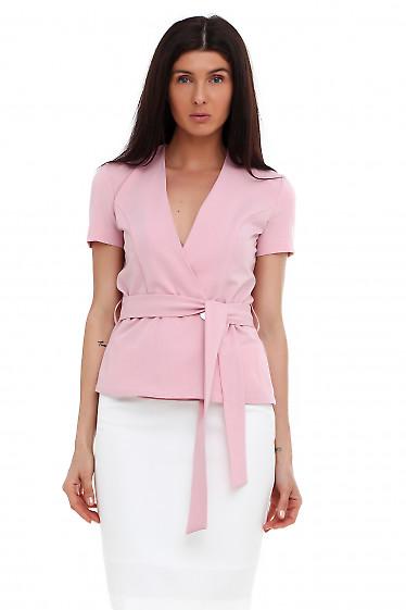 Жилетка розовая на запах. Деловая женская одежда фото