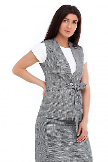 Купить жилетку в серую клетку с поясом Деловая женская одежда фото