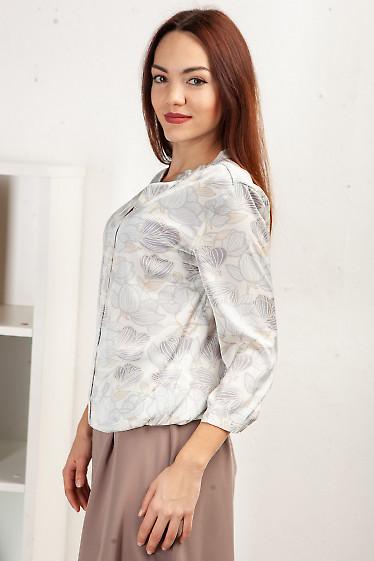 Купить блузку на резинке в сиреневые цветы. Деловая женская одежда фото