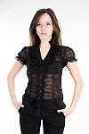 Блуза черная с рюшами Деловая женская одежда