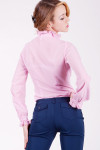 Блуза 231P Из тонкого шифона. Вид сзади. Цвет розовый.