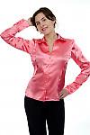 Блузка коралловая атласная Деловая женская одежда
