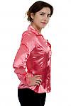 Блузка коралловая атласная вид сбоку Деловая женская одежда