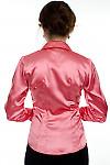 Блузка коралловая атласная вид сзади Деловая женская одежда