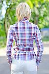 Блузка в клетку с поясом Деловая женская одежда