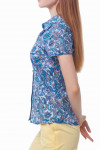 Купить голубую блузку в синие огурцы Деловая женская одежда