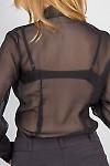 Фото Блузка черная с рюшью-кружевом. Вид сзади Деловая женская одежда