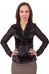 Фото Блузка черная с шифоновыми рюшами Деловая женская одежда