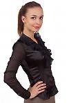 Фото Блузка черная из атласа Деловая женская одежда