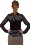 Фото Блузка атласная черная Деловая женская одежда