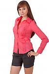 Фото Блузка коралловая из хлопка Деловая женская одежда