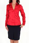 Фото Блузка красная из атласа Деловая женская одежда