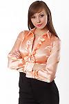 Блузка атласная персиковая Деловая женская одежда
