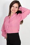 Фото Блузка с рюшами из розового шифона. Вид сбоку Деловая женская одежда