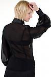 Фото Блузка с широкими рукавами черная. Вид сзади. Деловая женская одежда