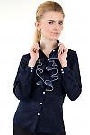 Фото Блузка синяя с жабо Деловая женская одежда