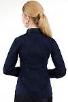 Фото Блузка синяя с жабо вид сзади Деловая женская одежда
