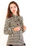 Фото Блузка в коричневую клетку. Вид сбоку Деловая женская одежда