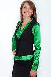 Фото Блузка зеленая из атласа вид сбоку Деловая женская одежда