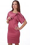 Фото Платье-футляр розовое с молнией на воротнике Деловая женская одежда