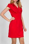 Фото Платье красное со складочками на воротнике. Вид спереДеловая женская одежда