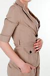 Фото Жакет льняной коричневый с коротким рукавом вид справа женская одежда