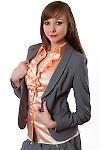 Фото Купить теплый серый жакет Деловая женская одежда